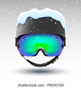 Snowboarding helmet and goggles isolated with snow. Mountain ski sport equipment. Front view. Winter safe activity.