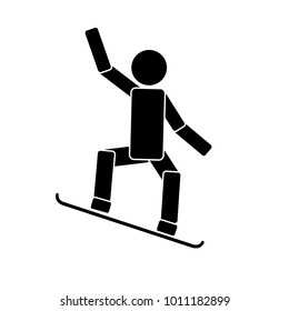 Snowboarding. Icon on white background. Vector illustration
