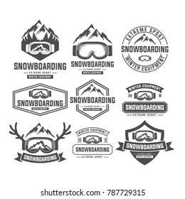 snowboarding mountain emblems, labels and designed elements. Extreme theme, winter games, outdoors adventure