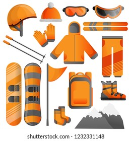 Snowboarding ski equipment icon set. Cartoon set of snowboarding ski equipment vector icons for web design