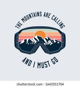 Snowboarding or ski goggles protective mask emblem with mountains landscape reflection. Vector illustration.