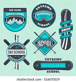 Snowboarding Ski School Logo Emblems Design Elements Winter Sport Shop Club Logotype