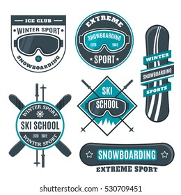 Snowboarding ski school logo, emblems, design elements. Winter sport shop, club logotype templates, badges. Extreme adventure activity symbols, icons. Business signs template, identity labels, objects