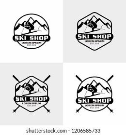 Snowboarding Ski Shop logo, emblems  collection