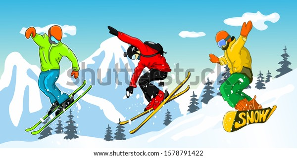 Snowboarding and Skiing. Vector illustration of a jumping snowboarder and two skier in trendy flat style, isolated on snow mountains background