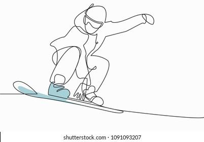Snowboarding Snowboard Snowboarder  jump one line vector illustration