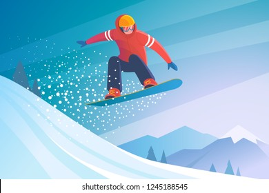 Snowboarding. Vector illustration of a jumping snowboarder in trendy flat style, isolated on snow mountains background.