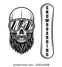 Snowboarding vector objects or design elements with snowboarder skull in ski glasses isolated on white background