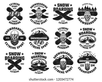 Snowboarding winter extreme sport set of twelve vector emblems, badges, labels or logos in vintage monochrome style isolated on white background