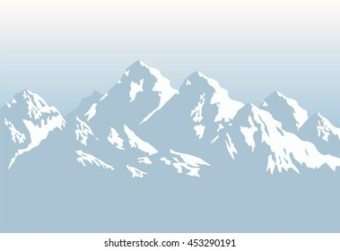 snow-capped mountains - vector background