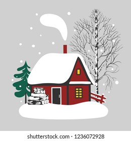 Snow-covered cozy cabin, high birch, spruce and firewood. Vector winter illustration.