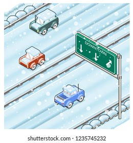 Snow-covered highway during snowfall with three cars driving slowly (vector cartoon)