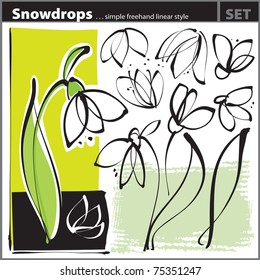 Snowdrop set (freehand drawing style)