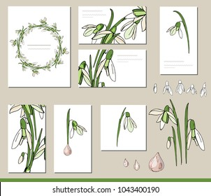 Snowdrop set with visitcards and greeting templates
