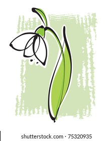 Snowdrop (simple freehand calligraphic drawing)