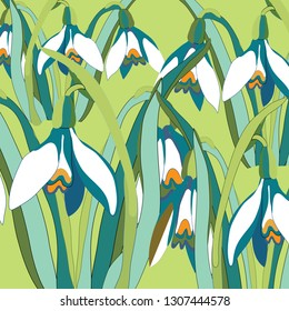Snowdrops. Vector illustration of snowdrops on soft green background