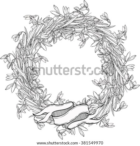 Snowdrops Wreath Flowerscoloring Books Children Adults Stock Vector