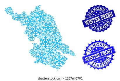 Snowed Map of Jiangsu Province and scratched stamp seals in blue colors with Winter Fresh and Winter Frost titles. Mosaic Map of Jiangsu Province is created with ice elements.