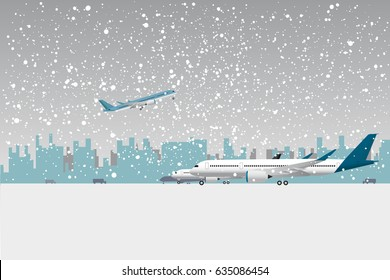 Snowfall in airport. Aircraft under snow. Flat vector illustration.