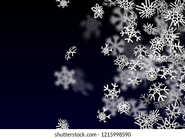 Snowfall background. Falling transparent snow with big spinning snowflakes