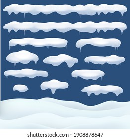 Snowfall An Different Shapes And Forms With Snowflake Blue Background With Gradient Mesh, Vector Illustration