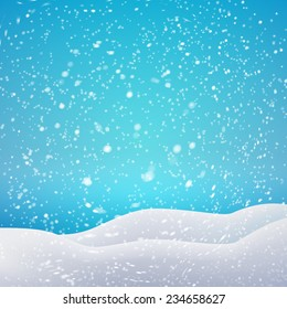 Snowfall and drifts. Vector illustration concept for your artwork, posters, flyers, greeting cards.
