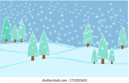 snowfall and evergreen trees in winter