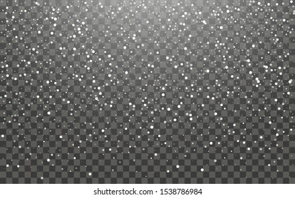 Snowfall and falling snowflakes on dark transparent background. White snowflakes and Christmas snow. Vector illustration