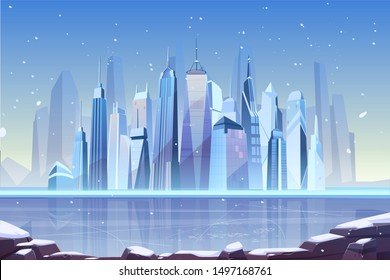 Snowfall in modern city cartoon vector with futuristic skyscrapers on frozen river shore illustration. Winter holidays season in metropolis, climate changes, cold and frosty weather concept background