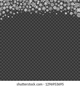 Snowfall on transparent background. Falling snowflakes template. Vector illustration.