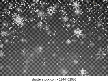 Snowfall template. Christmas snow. Falling snowflakes on transparent background. Xmas holiday background. Vector illustration