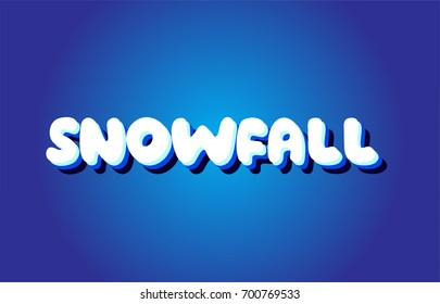 snowfall text 3d blue letters logo postcard banner concept vector creative company icon design template modern white