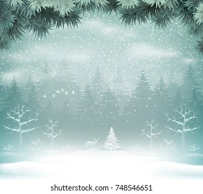 Snowfall in the winter forest landscape. Winter Holiday Christmas Background with fir trees and deer