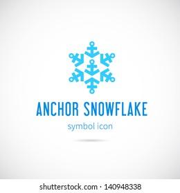 Snowflake from anchors logo template/Good for cold rivers and lakes shipment