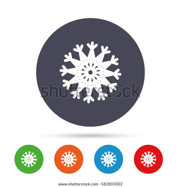 Snowflake artistic sign icon. Christmas and New year winter symbol. Air conditioning symbol. Round colourful buttons with flat icons. Vector