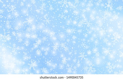 Snowflake background. Falling snow. Vector illustration. Snowfall sky. Christmas winter background.