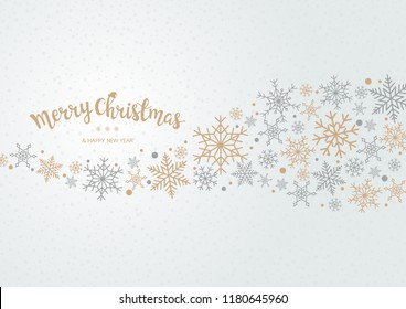 Snowflake background for Merry Christmas and Happy New Year.   Welcome winter with gold and silver falling snow. Vector illustration