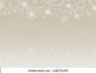 Snowflake background for Merry Christmas and Happy New Year. Welcome winter  with falling snow on gold background. Vector illustration