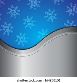 Snowflake background with metallic place for text. EPS10 vector