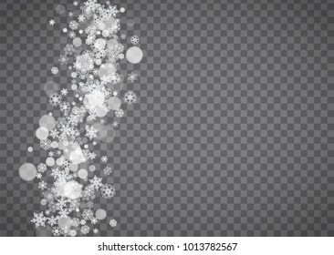 Snowflake border for Christmas and New Year holidays. Horizontal snowflake border on transparent background with sparkles. For banners, gift coupons, vouchers, ads, party events. Falling frosty snow.