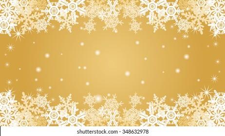 Snowflake  border frame -Gold color -EPS10