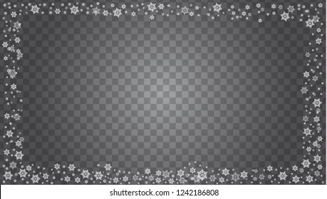 Snowflake border vector isolated on transparent background. Vector illustration.