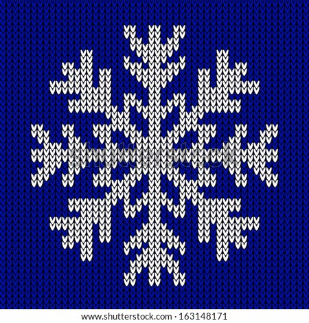 Snowflake Christmas Knitted Ornament On Blue Stock Vector Royalty