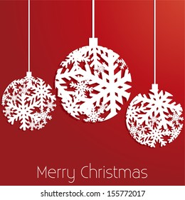Snowflake Christmas Ornaments Red Background - Merry Christmas - vector eps10