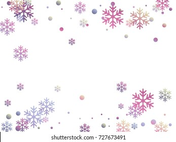 Snowflake and circle elements vector illustration, chaotic winter confetti scatter banner poster background. Colorful gradient snow flakes falling winter vector background in pink purple, blue, grey.