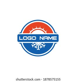 Snowflake Conditioning Ventilation Abstract Heating Cooling Sun Summer Winter Logo