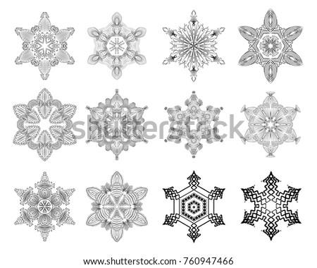 Snowflake detailed set christmas thin line vector illustration. Snow on white background isolated. Decoration for New Year card gift. Elegant floral lines for any web design or print.
