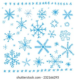 Snowflake doodle graphic hand-drawn set. Winter vector illustration. Blue snowflakes on white background.