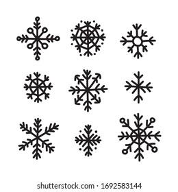 snowflake doodle icon, vector illustration
