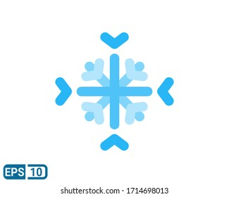 snowflake flat style icon isolated on white background. illustration for graphic designer, website, UI. EPS 10